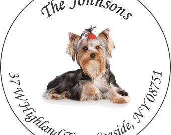 """90 1.5"""" Yorkie Address Labels - self stick and glossy"""