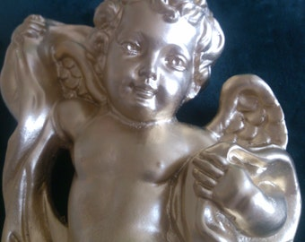 REDUCED  Smallest of the Golden Angels Wall Hangings