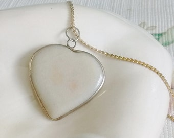 """White Heart Necklace on 24"""" Chain,"""