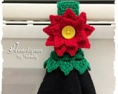 Christmas Poinsettia dish towel or hand towel ring with decorative skirt, great for holding towels in the kitchen, bathroom, laundry
