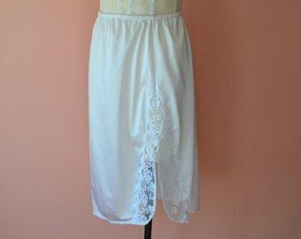White Half Slip Skirt with Lacy Slit  Vintage Lingerie Modern Size Small Medium VL357