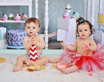 Twin brother sister matching cake smash set/baby boy and baby girl smash cake set in red/white with aqua trims