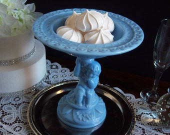 Blue Milk Glass Compote - Imperial Glass Compote - Blue Milk Glass - Figural Milk Glass Compote -  Vinelf - Blue Milk Glass Comport