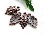 Scalloped Leaf charm, Copper leaf, Lead Free, Metal Leaves - 4Pc - F212