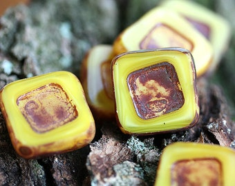 Czech Picasso beads, Square beads - Yellow Brown - glass beads, table cut, squares - 14mm - 4Pc - 0347