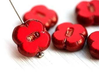 Red glass beads, czech beads with copper luster, Clover shape, flat square, table cut - 12mm - 6Pc - 0201