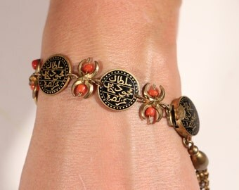 Antique Bracelet Enamel Coin Bracelet Small True Coral Beads Double Face Bracelet Dangle Braelet French Jewelry Jewelry