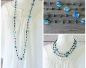 Long Bead Necklace: Blue Shells Boho Chic Jewelry, Layering Style, Antiqued Brass, Spring Fashion, Beach Jewelry