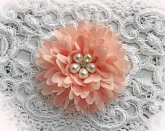 Reneabouquets Flower -So Shabby Blush Chiffon Large Flower,  Pearl And Rhinestone Fabric Flowers