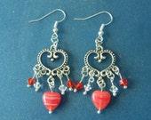 Silver & Red Heart, Crystal, Chandelier Earrings! Heart Earrings, Birthday, Anniversary, Teen Earrings, Woman's Earrings, Valentine Gift