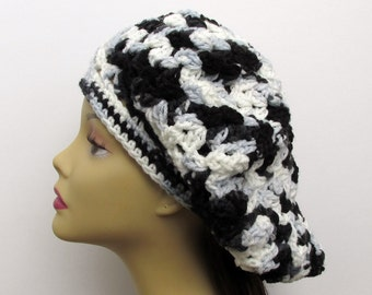 Crochet Slouchy Hat in Black, Grey, and White