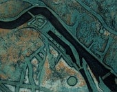 Aerial view collagraph print of Exeter, limited edition, blue.