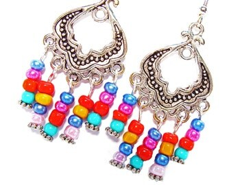 Gypsy, Bohemian, Calypso style Antique Silver Chandelier Earrings with #Red #Fucshia #Orange #Blue #Pink #Turquoise Beads #giftsforher