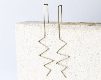 Zig Zag Earrings - Sterling Silver dangle earrings - Minimalist earrings - Line wire earrings - Long earrings - Modern Earrings