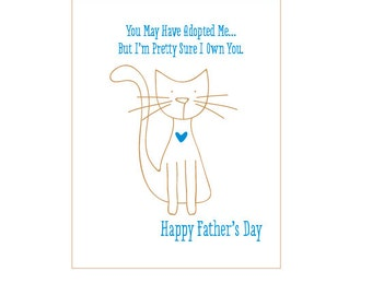 Funny Fathers Day card from the Cat - Card from Cat - Fathers Day card DeLuce Design