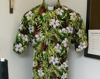 CAMP Clerical shirt tropical flowers with ferns set on black. Size of choice. Collar choice TAB or Fullband ready Cotton body Untucked style