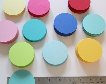 "2.5"" Cardstock circles- 50, scrapbooking, favor tags, cupcake toppers, garland, die cut circles"