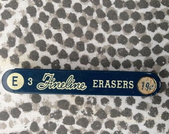 """Sheaffers Fineline Eraser Tin """"E"""" with two erasers Vintage Made in USA"""
