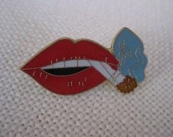 Vintage Smoking Lips Pin