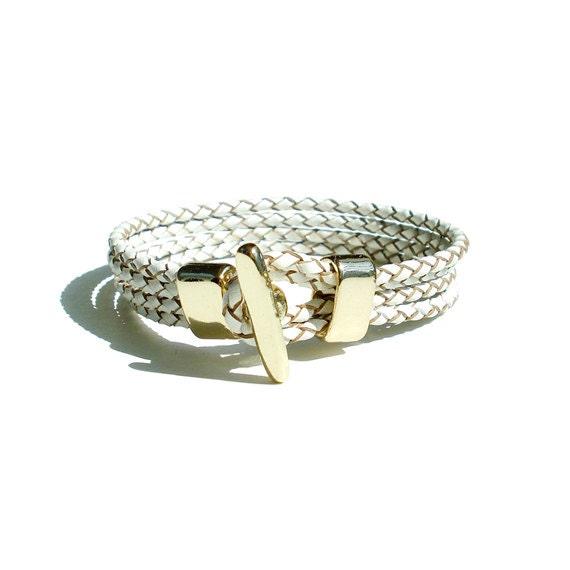 Braided Leather Bracelet - White