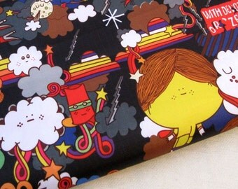 "3169B  - 1 yard Vinyl Waterproof Fabric  - Cartoon - girl / flower / umbrela (black) - 57""x36"""