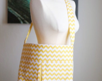 Peek Bag - Yellow Chevron & Yellow Sketch Fabrics