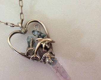 Handmade Sterling Silver Heart with Lavender fluorite Crystal & Two Dolphins and Dragon Claws.