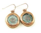 Orgone Energy Wax Seal Look Dangle Earrings in Copper with Turquoise - Dangle Earrings - Orgone Energy Jewelry - Artisan Jewelry