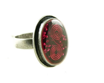 Orgone Energy Ring with Red Garnet - Framed Oval Cocktail Ring - Adjustable Ring - Orgone Energy Jewelry - Artisan Jewelry
