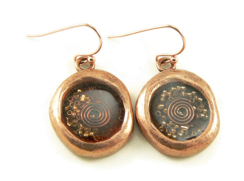 orgone energy wax seal look dangle earrings in copper with
