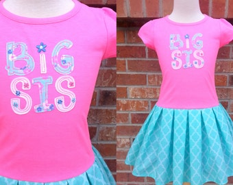 CLEARANCE SALE Girls Big Sis Dress, Big Sis, Girls Dress, Toddler Girls Dress - Last One 4T