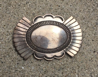 Vintage southwest concho stamped silver brooch sale