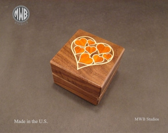 Engagement ring box with inlaid hearts.  Free shipping and engraving.  RB70