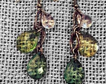 Green Crystal Triple Drop Earrings White Lime & Dark Green Three Bead Dangle Jewelry