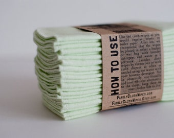 Baby Cloth Wipes - Reusable Baby Cloth Diaper Wipes -  Solid Mint  --  Single Layer Wipes (1ply)