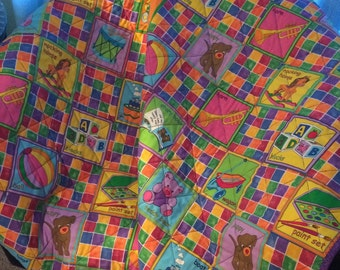 "It's A Crayon Box Colorful Storybook Delight In This 42.5"" X 46.5"" Quilt"