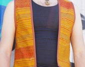 Men's Gold / Orange Silk Boho Vest made with 100% Recycled fabrics - Size S/M