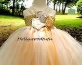 rustic gold flower girl tutu dress
