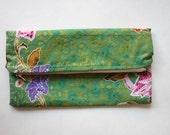 Malaysian Batik Boheme Zipper Bag, Fold Over Clutch, Floral Fabric, Textile Bag