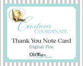 Printable Thank You Card. Coordinating or Matching Custom DIY, Your Choice of Flat or Folding Note Card Digital File