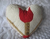 Heart Pillow Vintage Red Tulip Quilt Piece Faded Olive/Tan 4 Brown Buttons Red Edging Home Decor