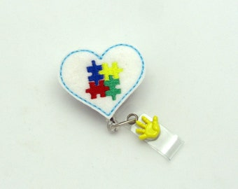 Autism Awareness Badge Reel - Designer Badge Clips - Awareness Badge Reels - Gifts Under 10 - Badge Reel Gifts - Professional ID Wear