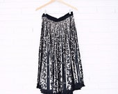 1950s Mexican Hand Painted Circle Skirt with Hand Sewn Sequins and Fringe