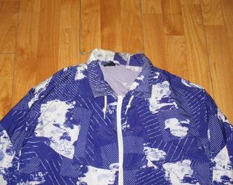 Vintage 1990s Avant Garde Splatter Print Rave Hip Hop Track Jacket