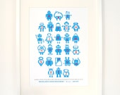 Blue Personalised Children's Robot Alphabet Nursery Print