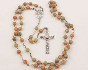 Eucharistic Rosary, Marbled 6mm Autumn Jasper Beaded Rosary with Host & Chalice Medal for the Center - Confirmation, First Communion Gift
