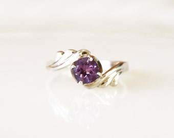 Vintage Amethyst Sterling Silver Ring / Size 7 3/4