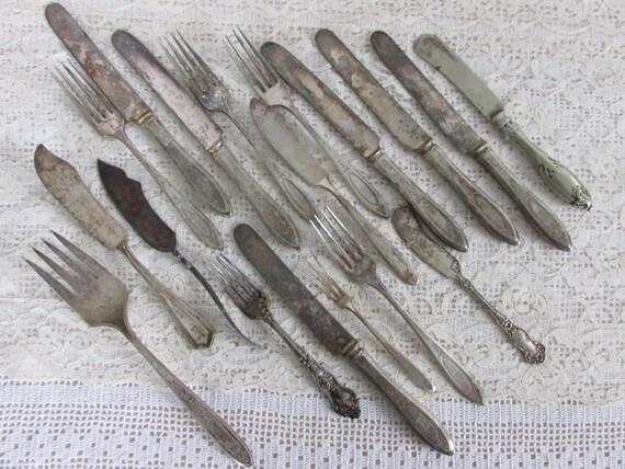 Vintage silverplate flatware, mismatch assortment table silverware, jewelry supply lot, silverplate forks, silverplate butter knives, knife