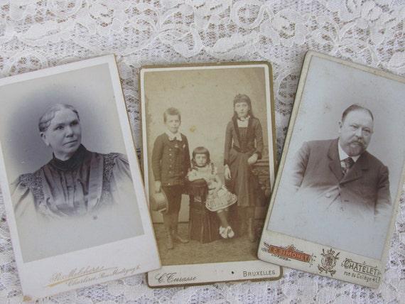 3 Vintage photos, old studio photographs, French cabinet card photos, paper art DIY KIT, paper ephemera, Altered Art kit, ephemera, PK2