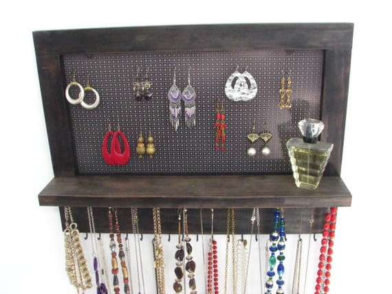 Jewelry display, choose your own stain and hook color option